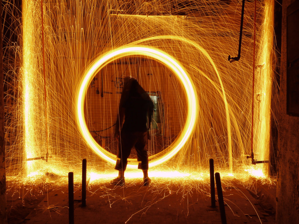 Fire painting silhouette